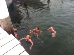 August - when the beach is too hot, find a dock to jump off