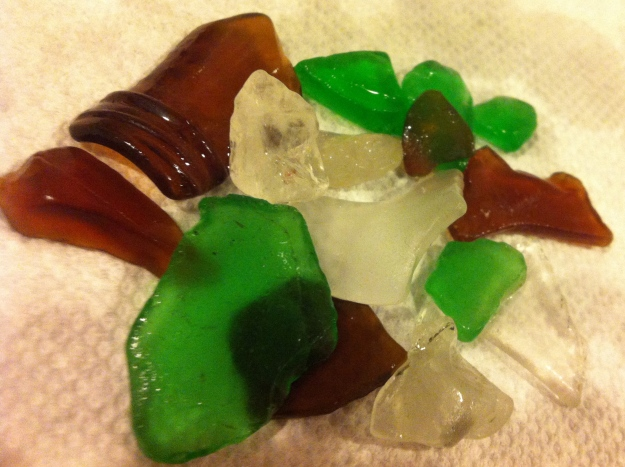 Sea glass - mostly from Ballards - now I can feel more charitable about all the summer partying that happens there.